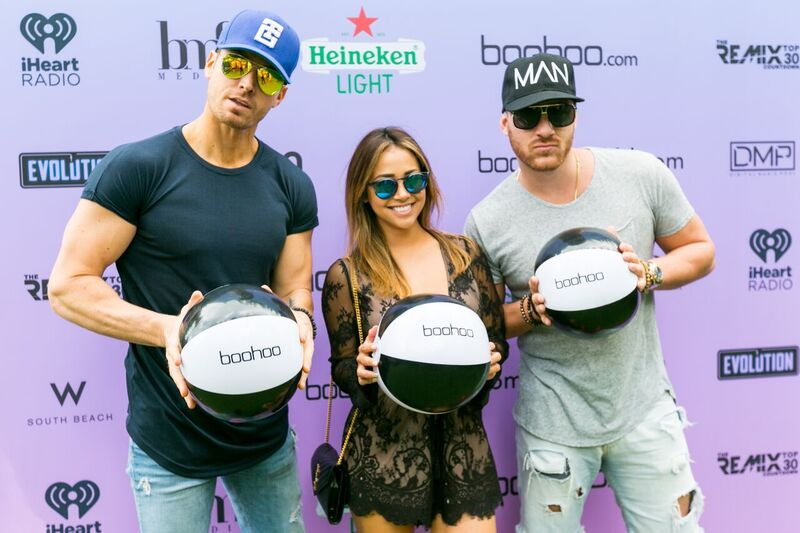 The Bachelor's Danielle Lombard and The Bachelorette's Luke Pell and Vinny Ventiera attend The Music Lounge by iHeartMedia + BMF Media presented by Heineken and Boohoo. Courtesy Photo