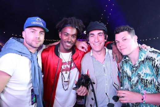Cameron Houston, DJ Ruckus, Brent Bolthouse and DJ Jess Marco pose for a photo at The Levi's Brand Presents NEON CARNIVAL with Tequila Don Julio on April 15, 2017 in Thermal, California Photo Credit: Jonathan Leibson/WireImage