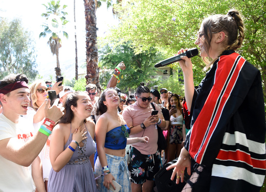 Singer Daya performs onstage at the POPSUGAR Cabana Club Pool Party at Colony Palms Hotel on April 15, 2017 in Palm Springs, California. Photo Credit: Michael Kovac/Getty Images for POPSUGAR