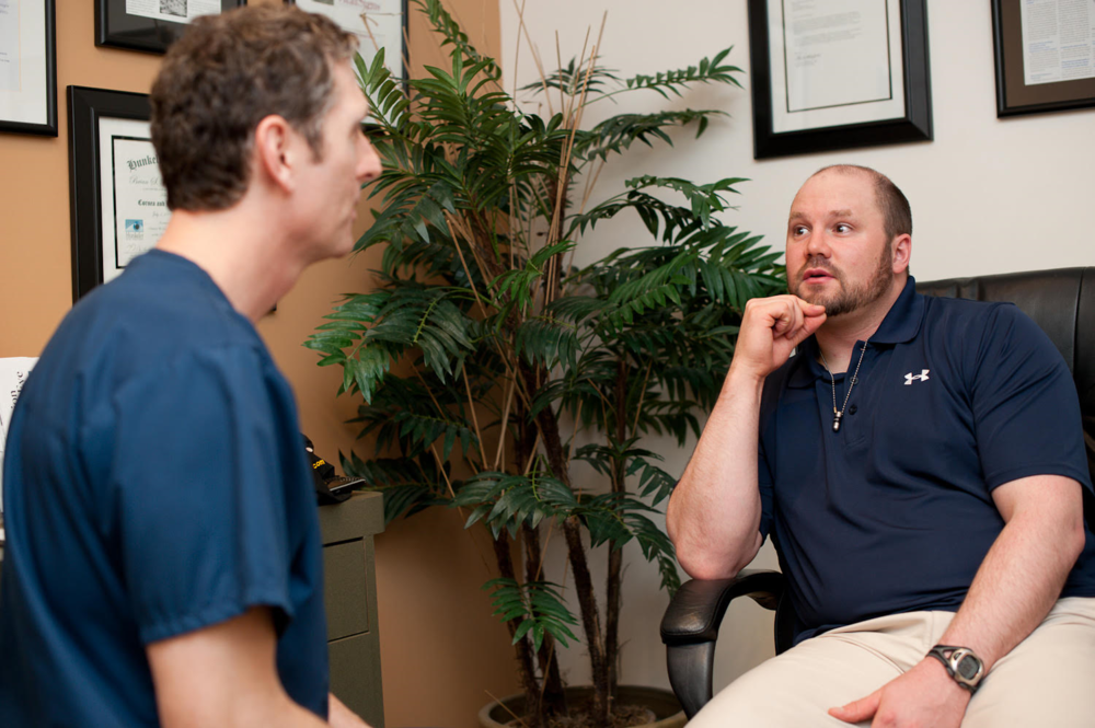 Olympic Gold and Bronze Medalist Bobsledder Steven Holcomb with Dr. Brian Boxer Wachler. Courtesy Photo