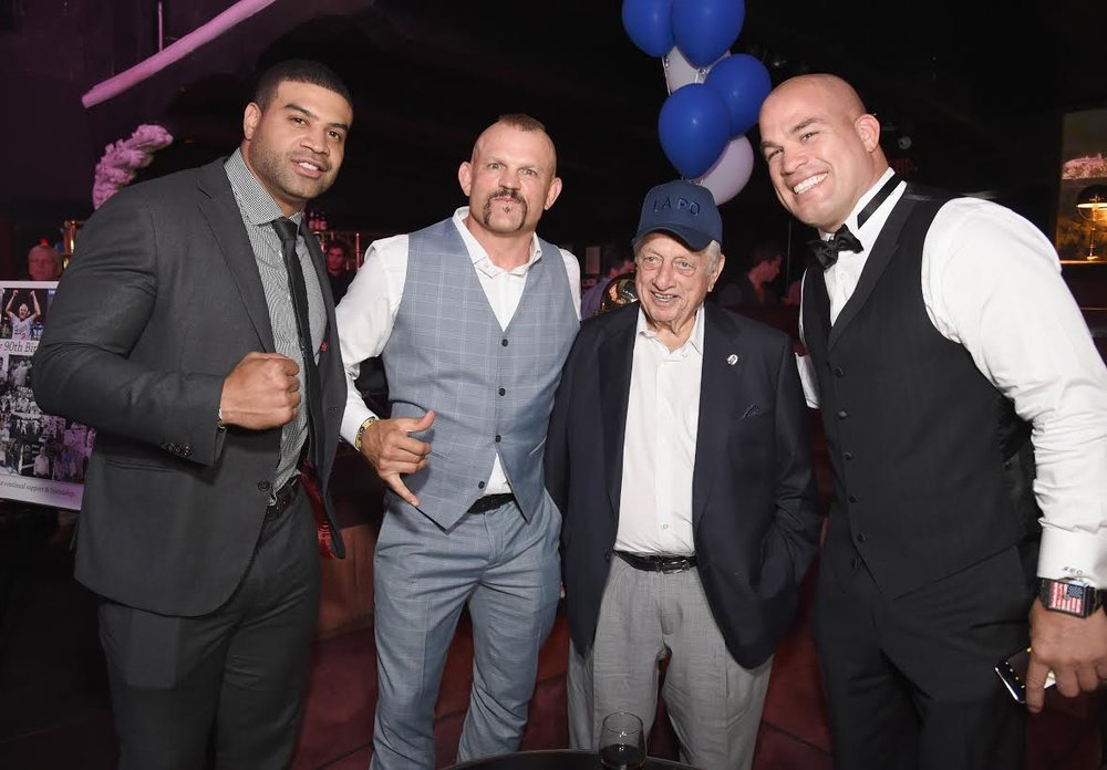 Shawne Merriman, Chuck Liddell, Tommy Lasorda, Tito Ortiz were ready to get their game on at the  Heroes for Heroes:   Los Angeles Police Memorial Foundation  Celebrity Poker Tournament & Casino Night Party, supported by    PokerStars Helping Hands  at the Avalon in Hollywood.  Photo Credit: Michael Kovac  / Getty Images