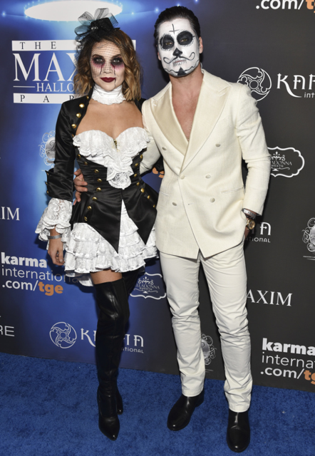 DWTS couple Val Chmerkovskiy and Jenna Johnson were inseparable at The 2017 MAXIM Halloween Party . Photo Credit: Getty Images