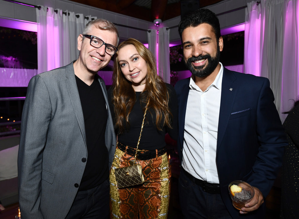 (L-R) Co-Founder & CMO, Flirtar, Glauter Jannuzzi, Actor Brandi Cyrus and Senior Program Manager, Flirtar, Anderson Gobbi at Flirtar Launch Party, The World's First Augmented Reality Dating App at SkyBar at the Mondrian Los Angeles on November 14, 2017 in West Hollywood, California. (Photo by Emma McIntyre/Getty Images for Flirtar)