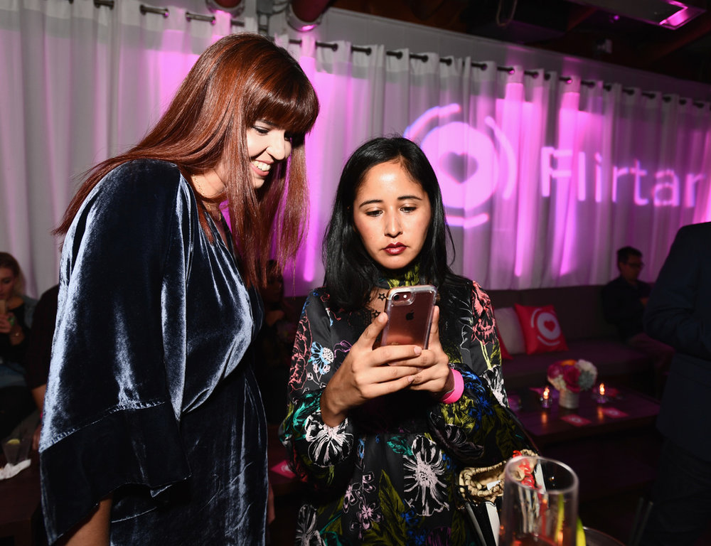 Tascila Martins (L) and guest at Flirtar Launch Party, The World's First Augmented Reality Dating App at SkyBar at the Mondrian Los Angeles on November 14, 2017 in West Hollywood, California. (Photo by Emma McIntyre/Getty Images for Flirtar)