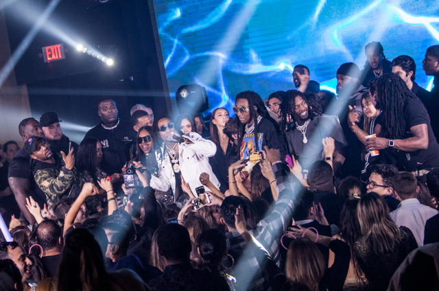 Birthday boy Thomas Henry Jr. rocked it out on stage with hip hop moguls Migos as they performed at his star-studded 4 million dollar birthday celebration. Photo Credit: Jay Layno