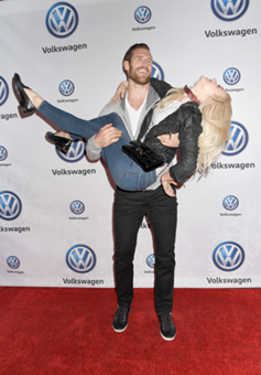 Julianne Hough & Brooks Laich are all smiles at the Volkswagen Holiday Drive-In Event at Raleigh Studios in Los Angeles, CA on Saturday, December 16th. Getty Images / Jennifer Graylock & Justin Edmonds