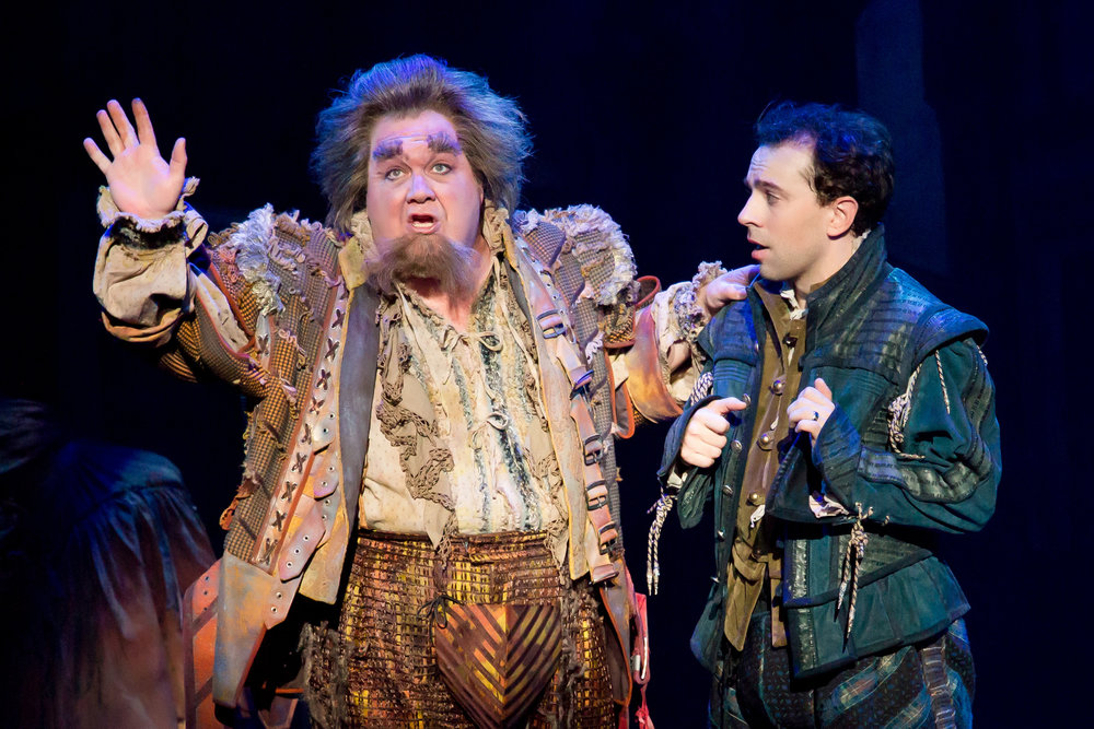 "L-R: Blake Hammond and Rob McClure in ""Something Rotten!"" which plays at the Ahmanson Theatre November 21 through December 31, 2017.  Photo by Jeremy Daniel."