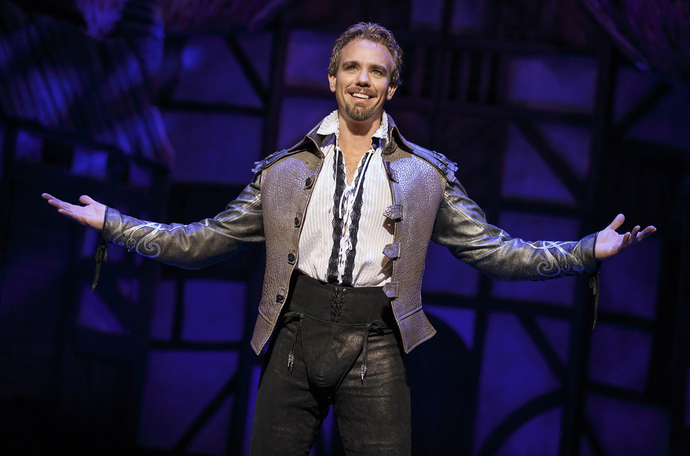 "Adam Pascal in ""Something Rotten!"" which plays at the Ahmanson Theatre November 21 through December 31, 2017. Photo by Joan Marcus."