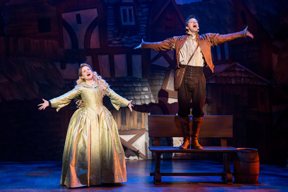 "Autumn Hurlbert and Josh Grisetti in ""Something Rotten!"" which plays at the Ahmanson Theatre November 21 through December 31, 2017. For tickets and information, please visit CenterTheatreGroup.org or call (213) 972-4400. Press Contact: CTGMedia@CTGLA.org / (213) 972-7376. Photo by Jeremy Daniel."