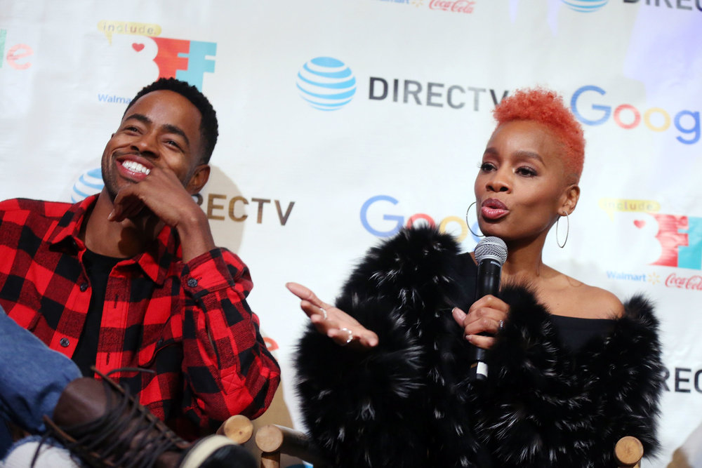 Jay Ellis (L) listens as Anika Noni Rose speaks at the second annual Cocktails and Conversation event presented by the Bentonville Film Festival and Google at the DirecTV Lodge presented by AT&T during Sundance Film Festival 2018 on January 20, 2018 in Park City, Utah. (Photo by Isaac Brekken/Getty Images for Bentonville Film Festival)