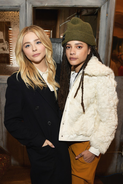 Chloë Grace Moretz (L) and Sasha Lane attend Outfest Queer Brunch at Sundance Presented By DIRECTV NOW and AT&T Hello Lab during the 2018 Sundance Film Festival at Grub Steak on January 21, 2018 in Park City, Utah. Photo Credit: Matt Winkelmeyer/Getty Images North America