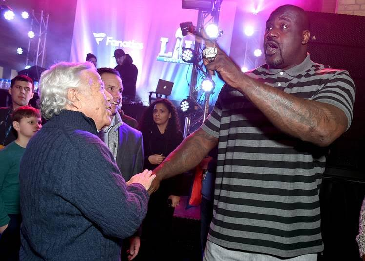 New England Patriots owner Robert Kraft and Shaquille O'Neal at the Fanatics Super Bowl Party on February 3, 2018 in Minneapolis, Minnesota. (Photo by Mike Coppola | Getty Images for Fanatics)