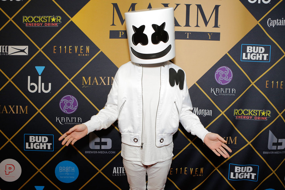 DJ Marshmello attends the 2018 MAXIM party produced By Karma International on February 3, 2018 in Minneapolis, Minnesota. (Photo by Tiffany Rose/Getty Images for Maxim)