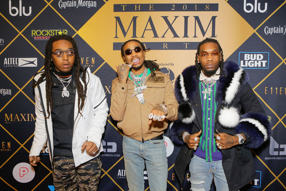 Takeoff, Quavo and Offset of Migos attend the 2018 MAXIM party produced By Karma International on February 3, 2018 in Minneapolis, Minnesota. (Photo by Tiffany Rose/Getty Images for Maxim)