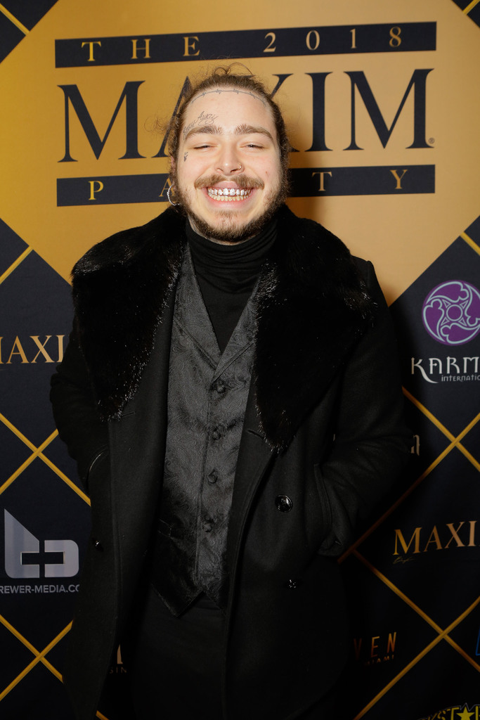 Post Malone attends the 2018 MAXIM party produced By Karma International on February 3, 2018 in Minneapolis, Minnesota. (Photo by Tiffany Rose/Getty Images for Maxim)
