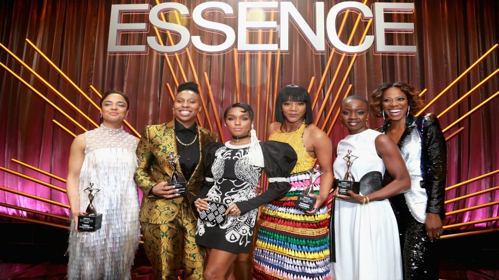 (L-R) Honoree Tessa Thompson, Honoree Lena Waithe, Janelle Monae, Tiffany Haddish, Honoree Danai Gurira, and Yvonne Orji onstage during the 2018 Essence Black Women In Hollywood Oscars Luncheon at Regent Beverly Wilshire Hotel on March 1, 2018 in Beverly Hills, California. (Photo by Leon Bennett/Getty Images for Essence)