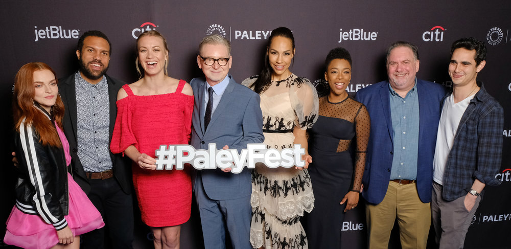 Cast and creatives of The Handmaid's Tale arrive at PaleyFest LA 2018 honoring The Handmaid's Tale, presented by The Paley Center for Media, at the DOLBY THEATRE on March 18, 2018 in Hollywood, California. Photo Credit: Michael Bulbenko for the Paley Center