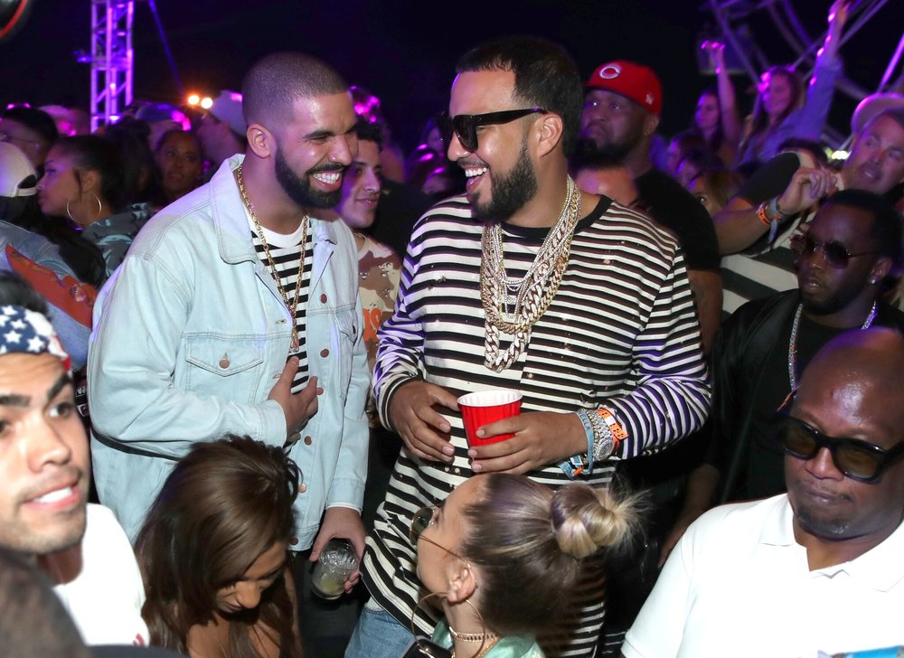 Drake and French Montana Catching Up at Neon Carnival! Courtesy Photo