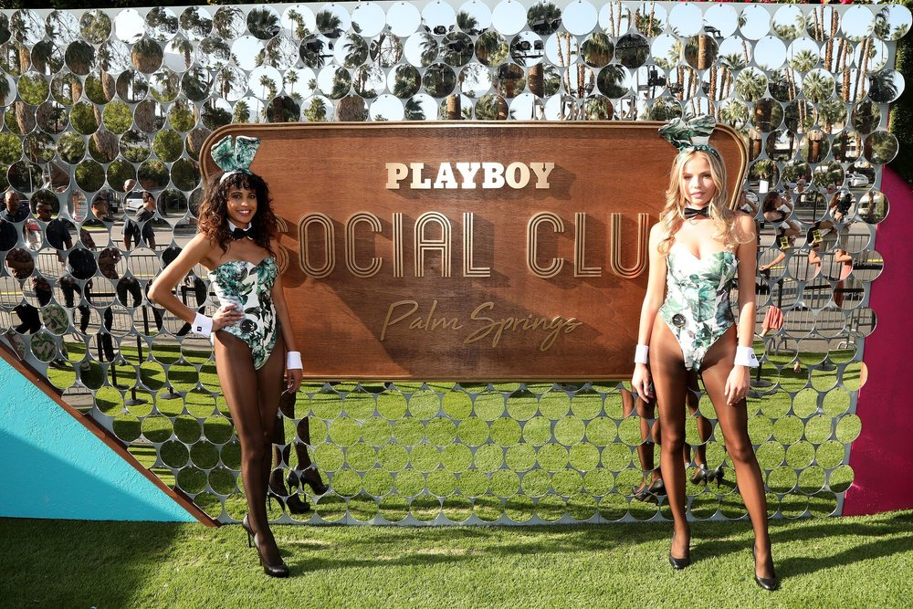 PALM SPRINGS, CA - APRIL 13: (L-R) Playboy Bunnies Alina Novikiva and Jesi Le Rae Attend Magic Hour at Playboy Social Club on April 13, 2018 in Palm Springs, California. Photo Credit: Jerritt Clark/Getty Images for Playboy