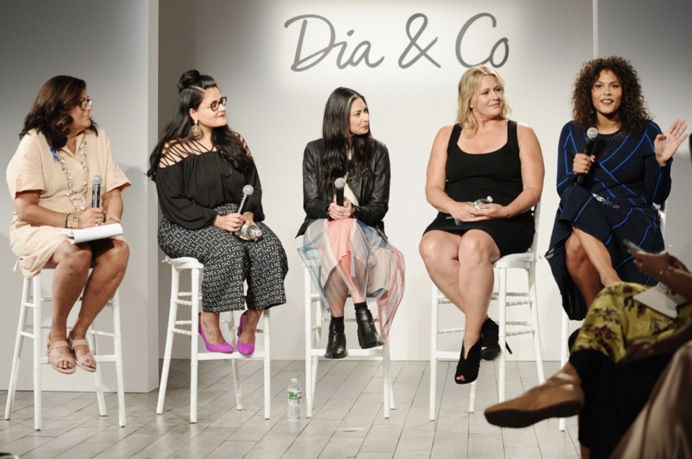 (L-R) Fern Mallis, Nadia Boujarwah, Stacy London, Emme Aronson and Marquita Pring speak onstage during the Dia&Co fashion show and industry panel at the CURVYcon at Metropolitan Pavilion West on September 8, 2017 in New York City. (Photo by Daniel Zuchnik/Getty Images for Dia&Co,)