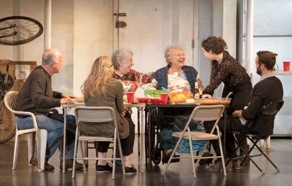 "L-R: Reed Birney, Cassie Beck, Jayne Houdyshell, Lauren Klein, Sarah Steele and Nick Mills in ""The Humans"" at the Ahmanson Theatre presented by Center Theatre Group. Written by Stephen Karam and directed by Joe Mantello, ""The Humans"" will run through July 29, 2018. For tickets and information, please visit CenterTheatreGroup.org or call (213) 972-4400. Press Contact: CTGMedia@CTGLA.org / (213) 972-7376. Photo by Lawrence K. Ho."