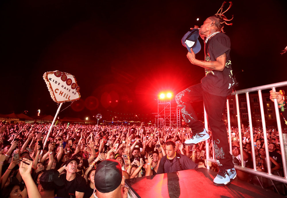 Travis Scott performs on Bacardi Sound of Rum Stage during the 2018 Life Is Beautiful Festival on September 22, 2018 in Las Vegas, Nevada. (Photo by FilmMagic/FilmMagic for Life Is Beautiful)