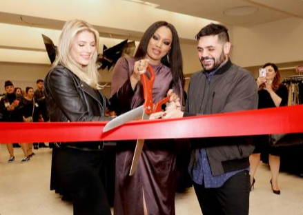 Katheryn Winnick , Garcelle Beauvais, and Michael Costello co-host the Shop for Success VIP Opening, benefitting Dress For Success Worldwide West LA. Photo Credit: Getty