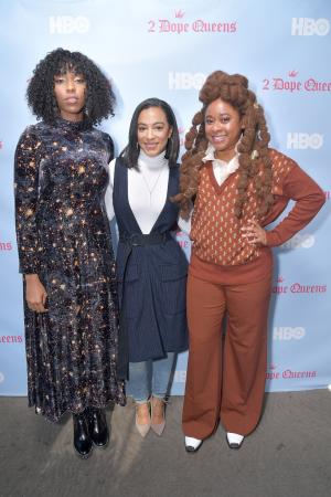"""(L-R) Jessica Williams, attorney and Principal and CEO of IMPACT Strategies Angela Rye, and Phoebe Robinson attend the HBO """"2 Dope Queens"""" brunch and conversation during Sundance 2019 at Tupelo on January 27, 2019 in Park City, Utah. (Photo by Michael Loccisano/Getty Images for HBO)"""