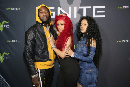 (L-R) Offset, Cardi B and Hennessy Carolina attend Ignite Angels and Devils Pre-Valentine's Day Party on February 13, 2019 in Bel Air, California. (Photo by Randall Michelson/Getty Images for Ignite)