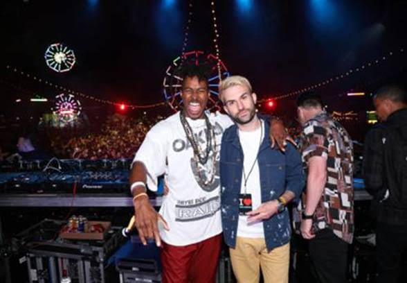 DJ Ruckus (L) and A-Trak attend the Levi's Brand Presents Neon Carnival with Bondi Sands and POKÉMON: Detective Pikachu on April 13, 2019 in Thermal, California  ( PHOTO CREDIT:  Getty Images for Neon Carnival)