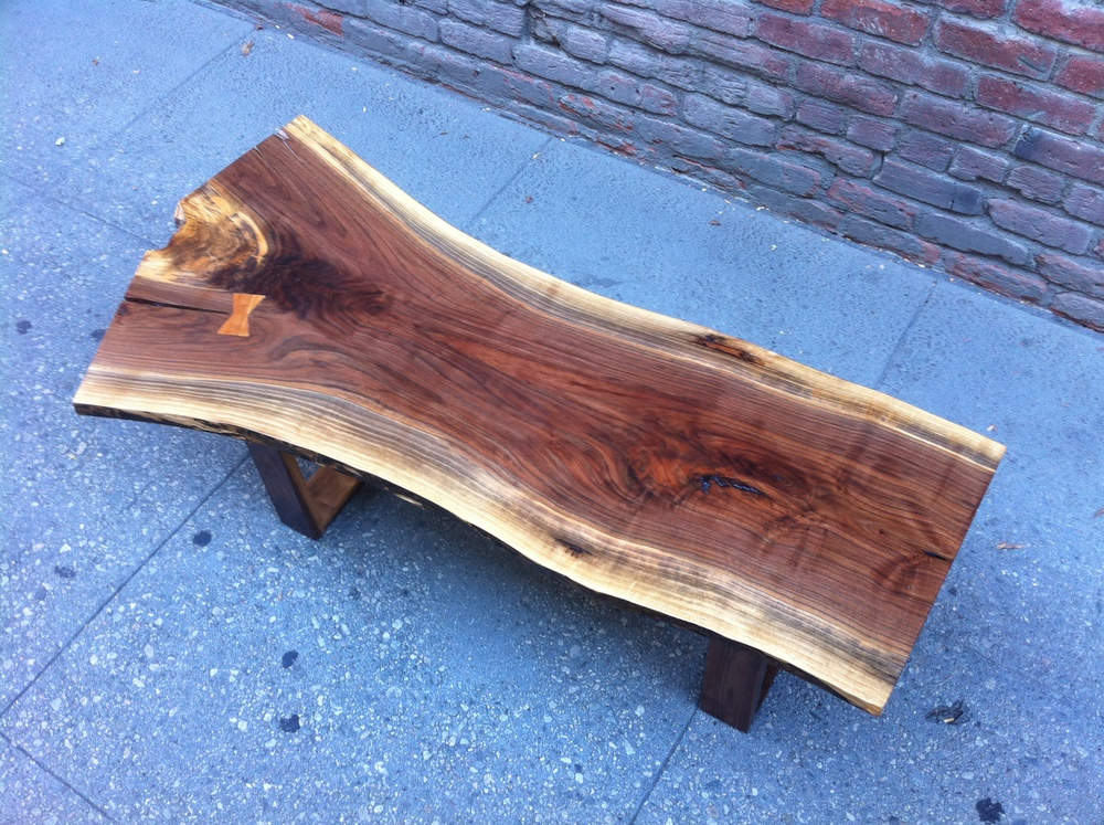 SOLD   Gorgeous Black Walnut Live Edge Coffee Table With Butterfly Joints    P10160