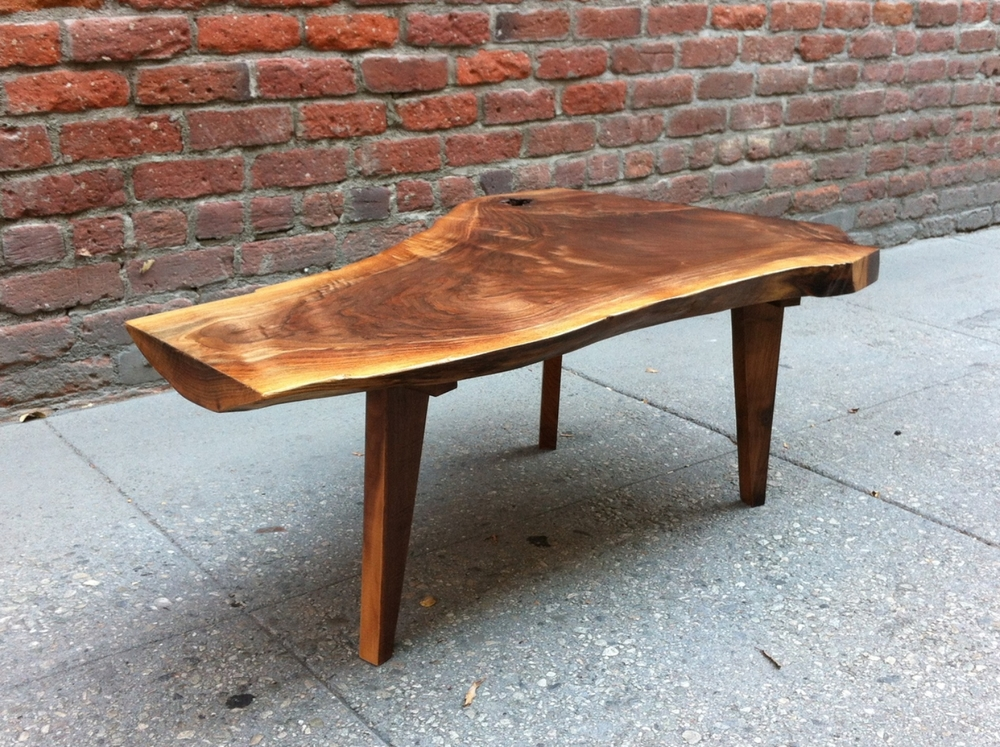 SOLD   Beautiful And Unique Live Edge Black Walnut Coffee Table With Custom  Legs   P10145