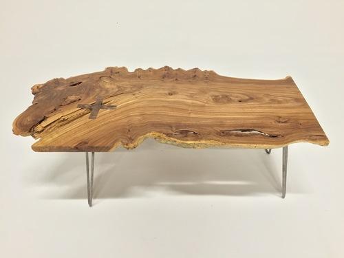 SOLD - Amazing Live Edge Elm Wood Coffee Table - P10207 - SOLD - Amazing Live Edge Elm Wood Coffee Table - P10207