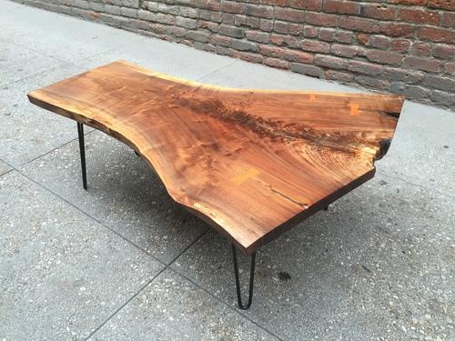 sold - stunning black walnut, live edge coffee table - p10269