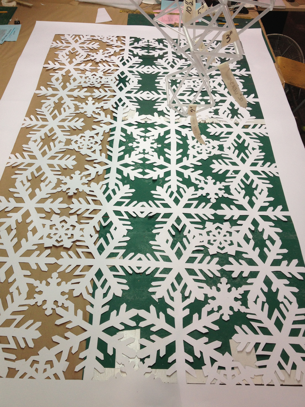 HAND CUT PAPER SNOWFLAKE PANEL