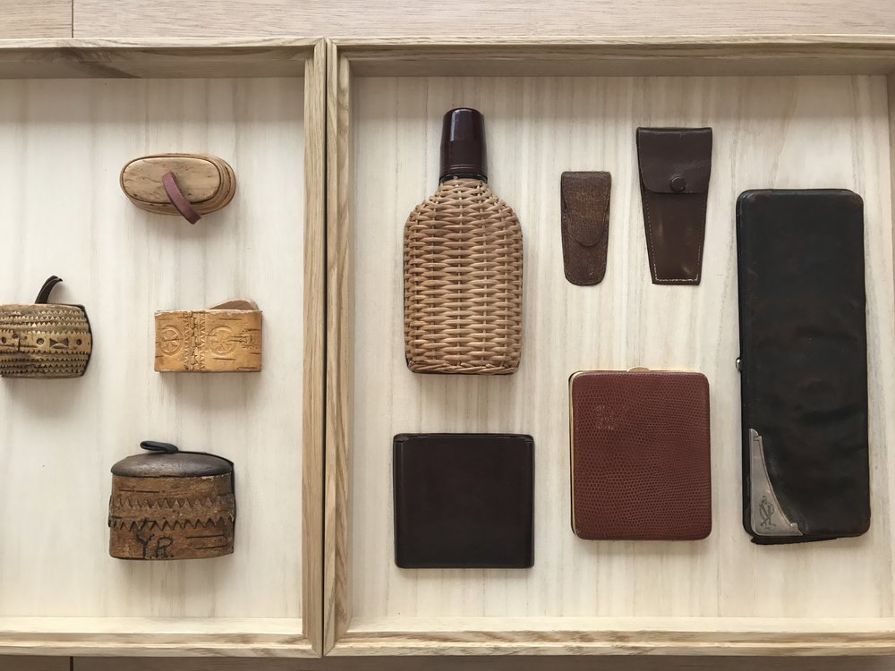 Above: CHACOLI's collection of objects with its matching cases displayed in CHACOLI's custom designed case.