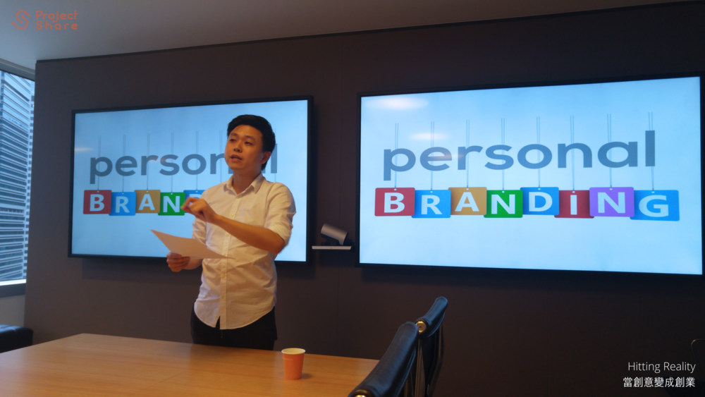 Speaker making the link between business and personal branding.