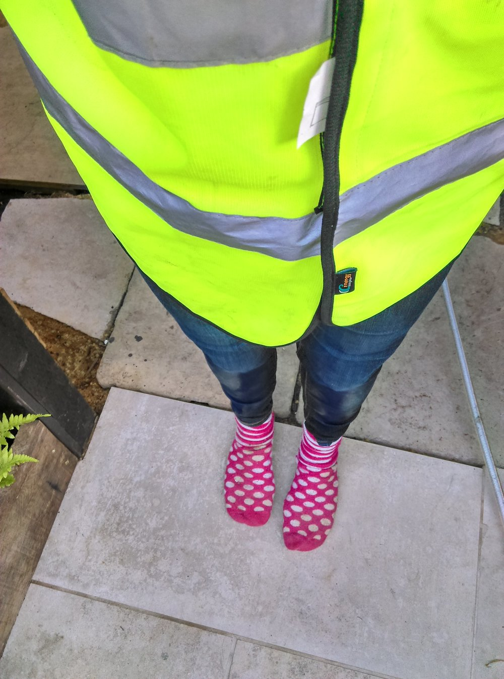Glamorous Photographer.....Dust, a Hiviz Jacket..amazing socks...