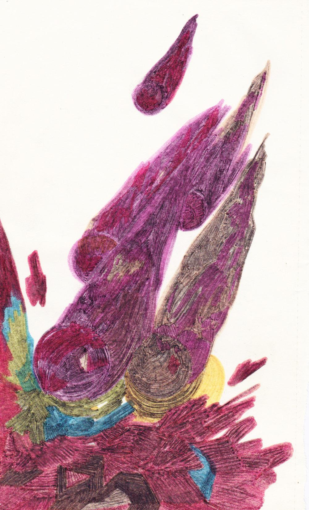 Comètes , dessin au fusain et aux feutres de couleurs, 21x15,5, 2012.