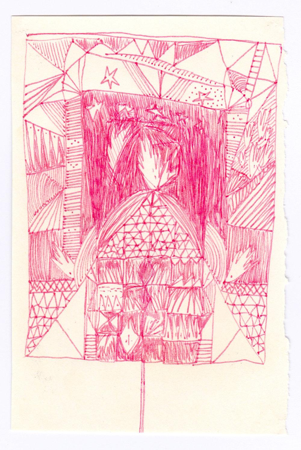 Gravure, dessin au stylo rouge, 2013