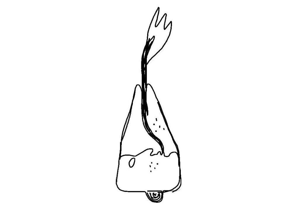 Homme-volcan, dessin au doigt sur tablette, 2013