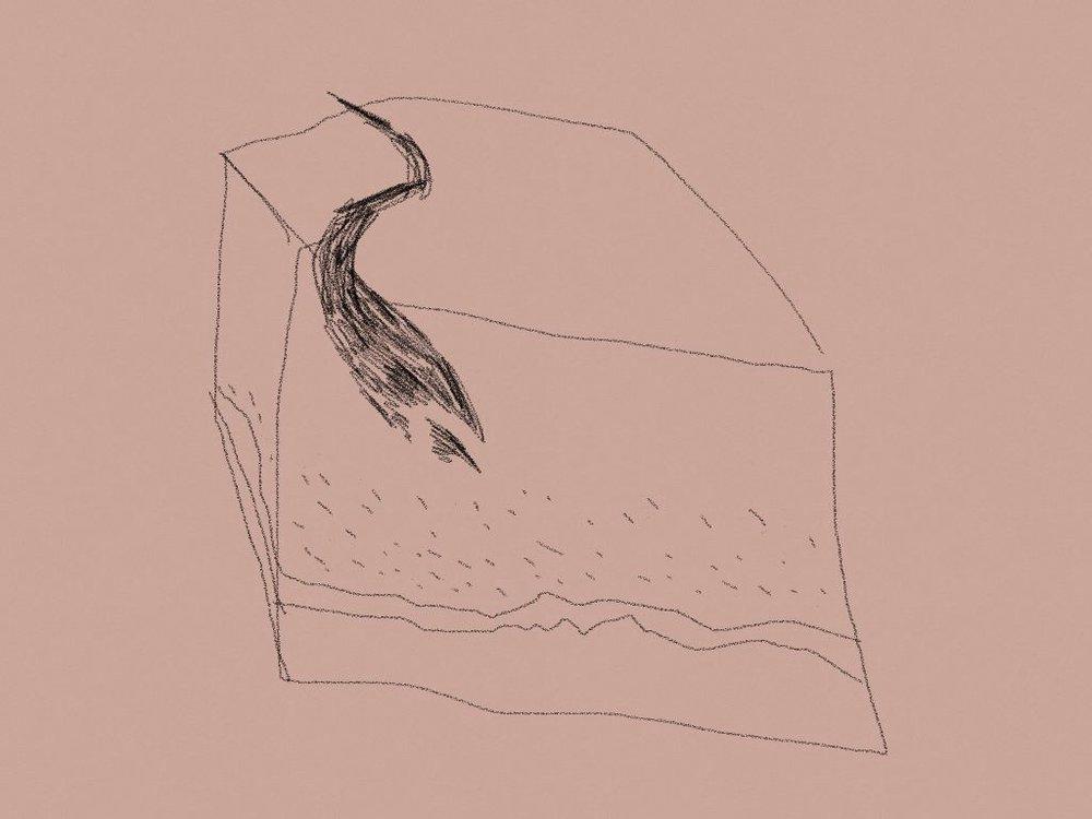 Filet, dessin au doigt sur tablette, 2014.