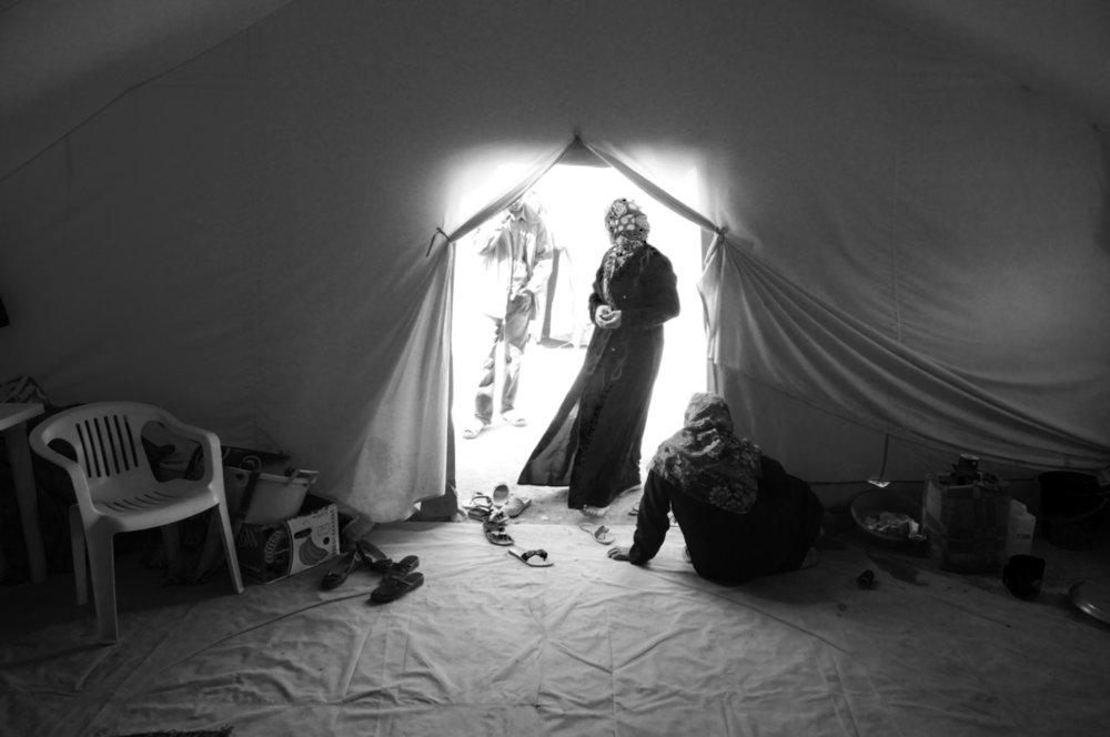 Dhibat, camp de réfugiés en Libye, frontière tunisienne, 2011