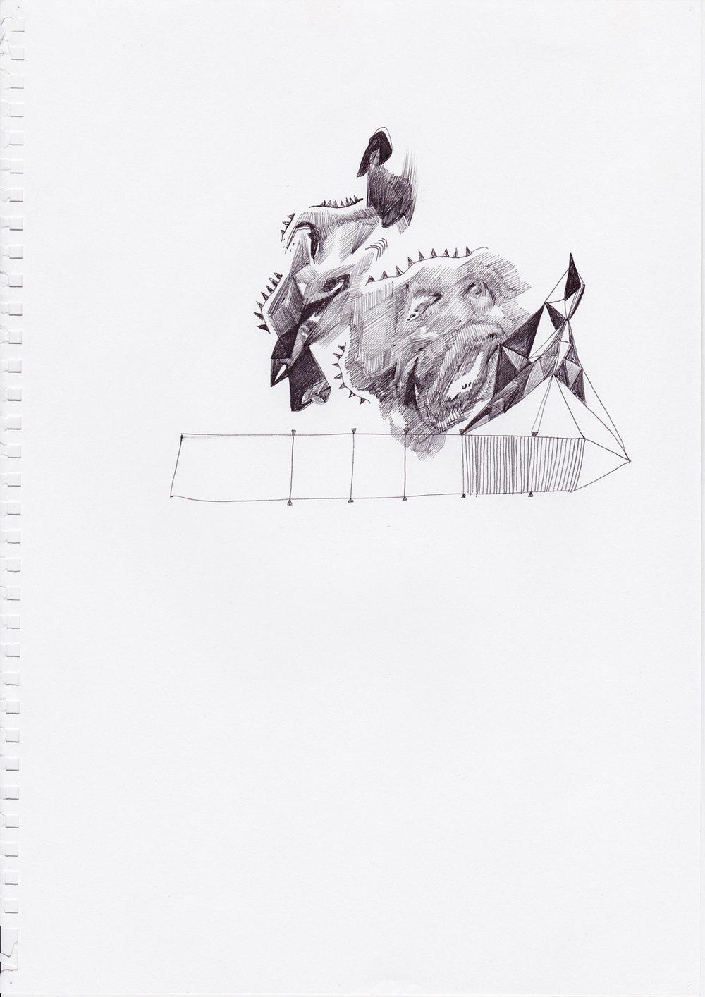 Timeline, dessin au stylo noir sur papier machine, 2012
