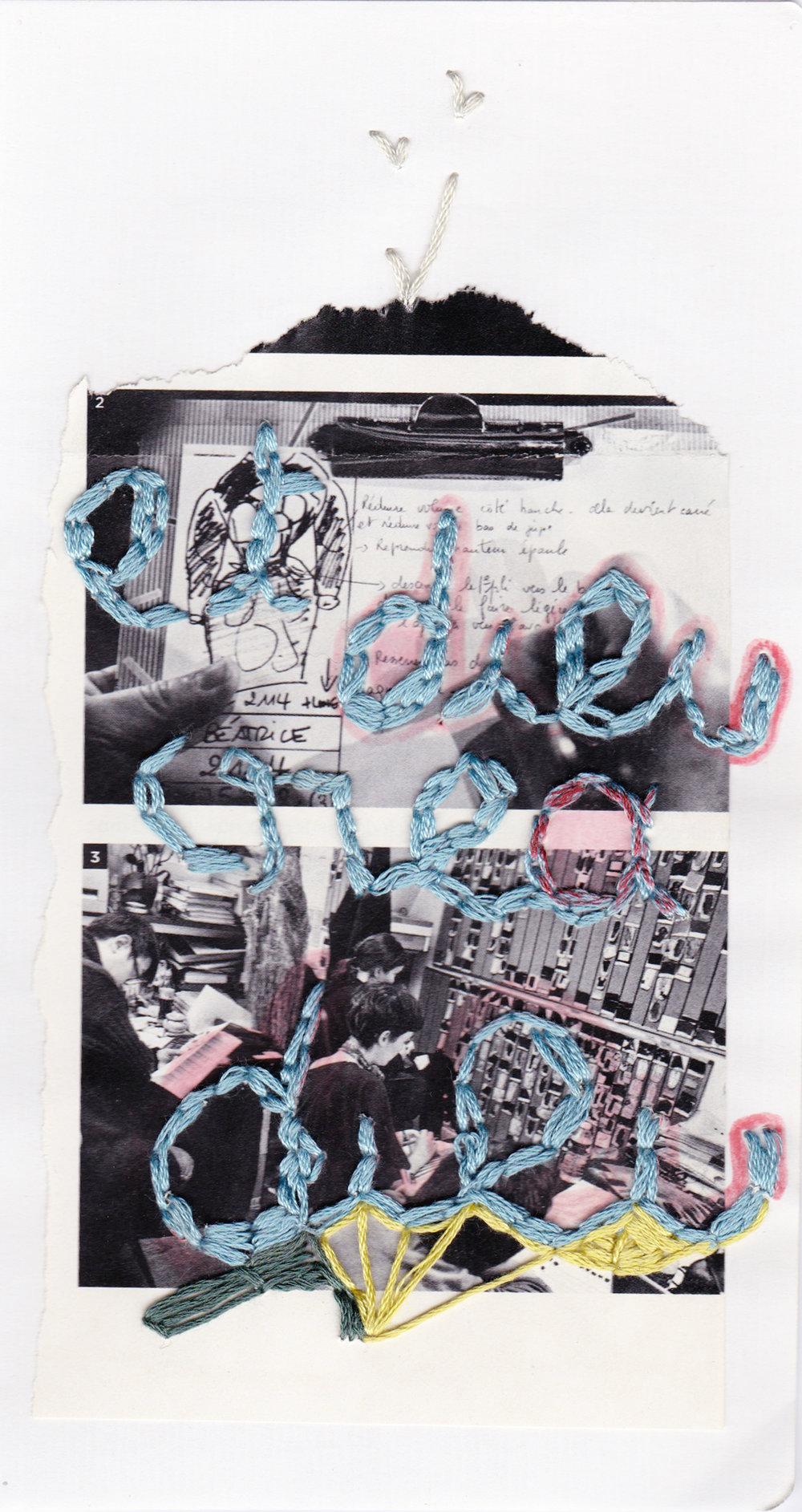 Et dieu créa dieu, broderie sur collage, 2012