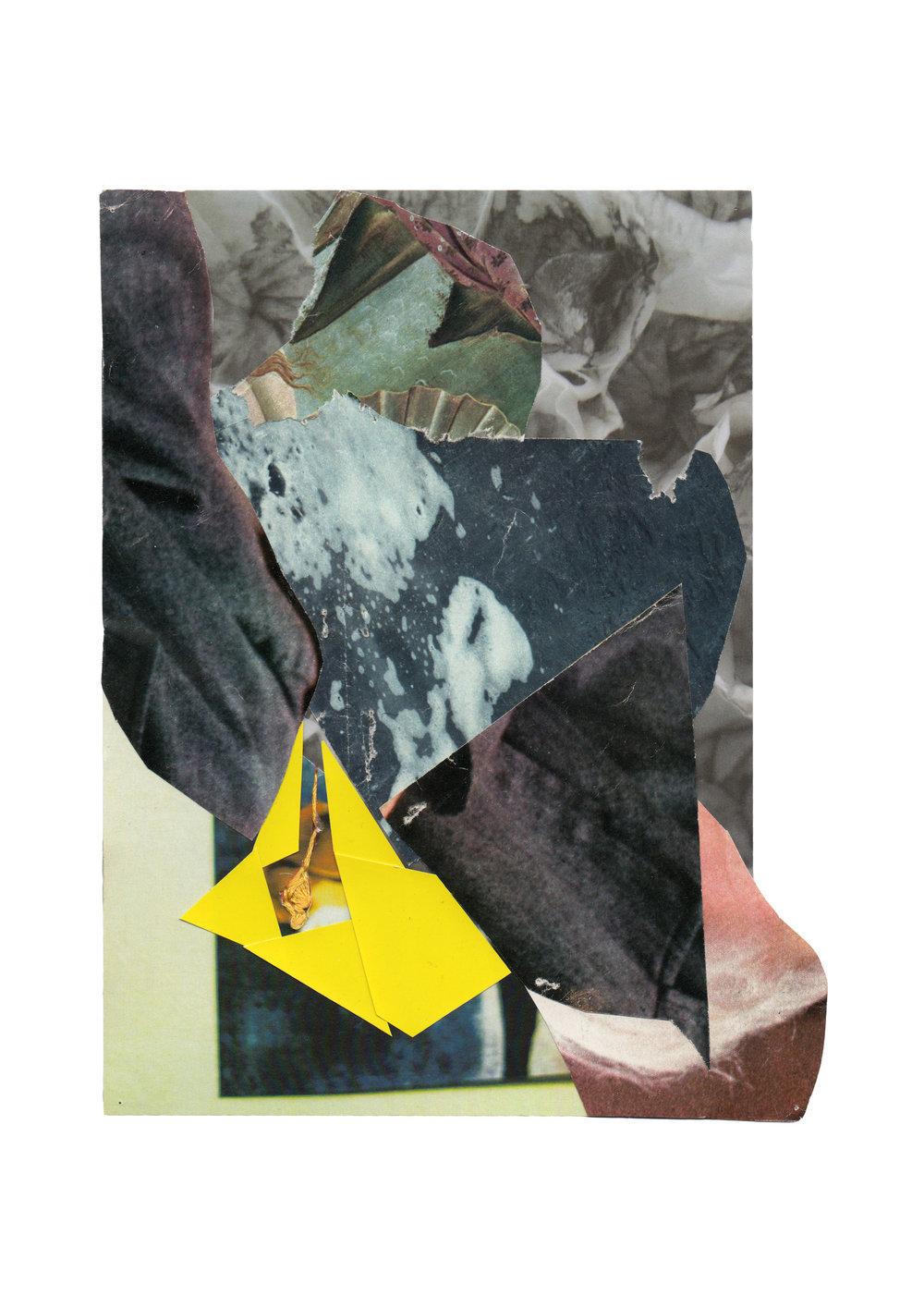 Volcan jaune, collage, 2013
