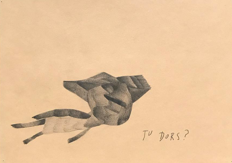 Tu dors?, dessin au crayon, 2013