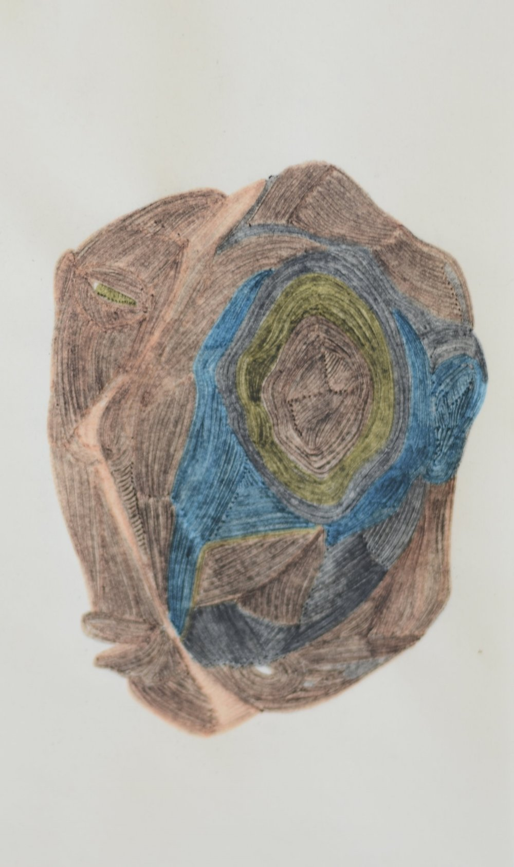 Head, dessin au fusain et feutres, 2013