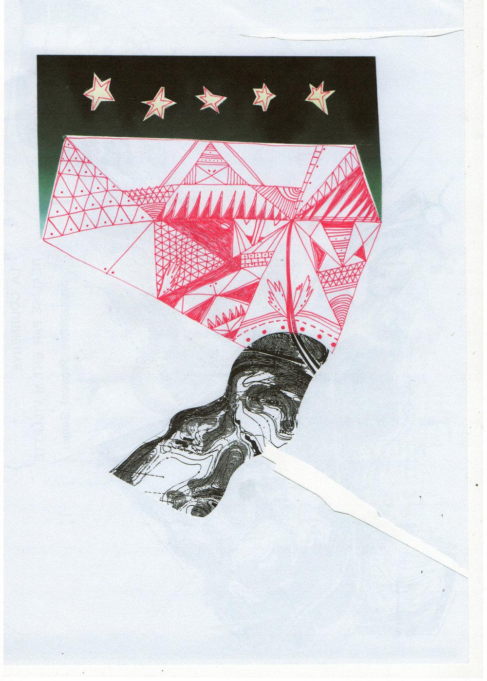 Ciel égyptien, dessin et collage, 2013