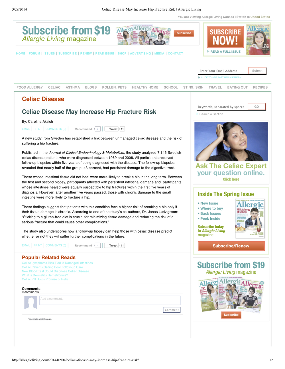 "Preview of ""Celiac Disease May Incre... Risk 